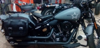 "Harley Davidson Softail Crossbones Exhaust 3"" S.S.E.S.(Smart Silenced Exhaust System)Pair Of Mufflers Black DENIM"
